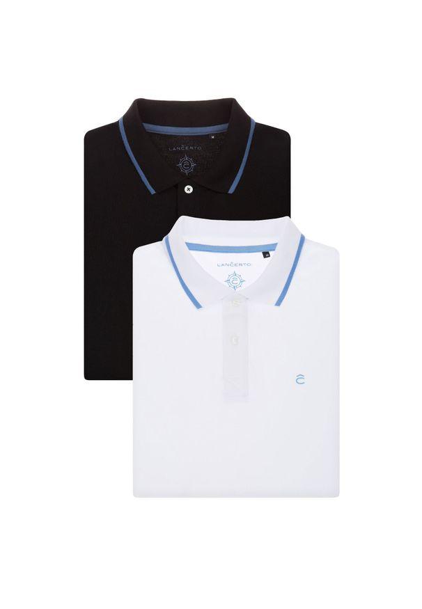 Lancerto - Zestaw 2 Koszulek Polo. Okazja: na urodziny, na co dzień. Typ kołnierza: polo. Materiał: bawełna, tkanina, materiał. Wzór: ze splotem. Styl: klasyczny, casual
