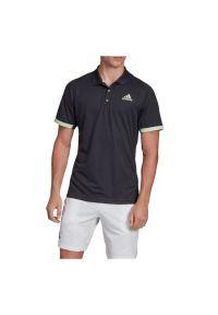 Zielona koszulka sportowa Adidas krótka, polo, ClimaLite (Adidas), z krótkim rękawem