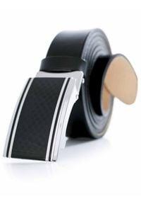 Modini - Czarny duży pasek męski z automatyczną klamrą XXL KXL4. Kolor: czarny. Materiał: skóra. Wzór: kratka. Styl: klasyczny, elegancki