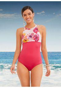 Kostium kąpielowy, przyjazny dla środowiska bonprix różowo-jasnoróżowy w kwiaty. Kolor: różowy. Wzór: kwiaty