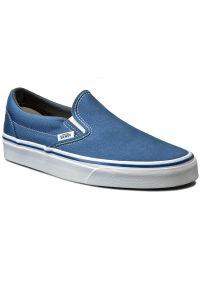 Niebieskie buty sportowe bez zapięcia, z cholewką, Vans Classic