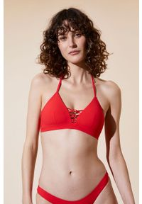 Czerwony strój kąpielowy dwuczęściowy Etam z wyjmowanymi miseczkami