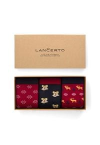 Lancerto - Zestaw 3 Par Skarpet Świątecznych. Materiał: bawełna, dzianina, poliamid, elastan. Wzór: aplikacja, kolorowy