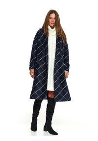 Niebieski płaszcz TOP SECRET w kolorowe wzory, na zimę