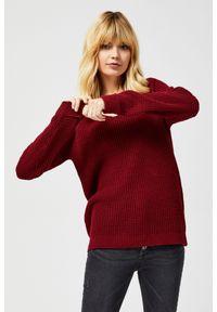Sweter MOODO z dekoltem w serek, długi, z długim rękawem