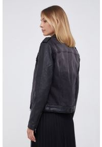 Desigual - Ramoneska jeansowa. Okazja: na co dzień. Kolor: czarny. Materiał: jeans. Wzór: haft. Styl: klasyczny, casual