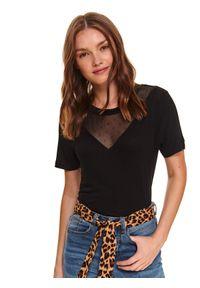 Czarny t-shirt TOP SECRET w koronkowe wzory, z krótkim rękawem, krótki