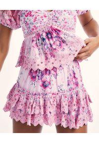 LOVE SHACK FANCY - Różowa spódnica z haftem Cairo. Kolor: wielokolorowy, różowy, fioletowy. Materiał: bawełna. Wzór: haft