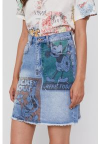Desigual - Spódnica jeansowa x Mickey Mouse. Okazja: na co dzień. Kolor: niebieski. Materiał: jeans. Wzór: motyw z bajki. Styl: casual