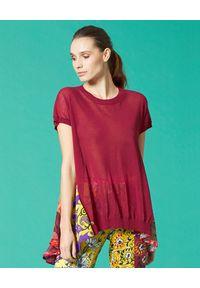 Czerwona bluzka Manila Grace w kolorowe wzory