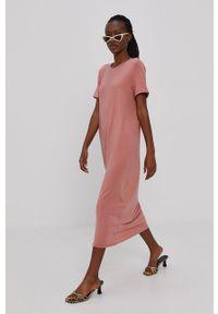 Vero Moda - Sukienka. Okazja: na co dzień. Kolor: różowy. Materiał: dzianina, materiał. Długość rękawa: krótki rękaw. Wzór: gładki. Typ sukienki: proste. Styl: casual