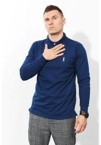 Niebieska koszulka polo Edward Orlovski polo, w kolorowe wzory, klasyczna