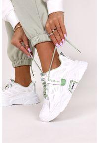 Casu - Białe sneakersy na platformie buty sportowe sznurowane casu 21f1/wg. Kolor: zielony, biały, wielokolorowy. Obcas: na platformie
