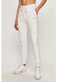 Białe spodnie dresowe Armani Exchange gładkie
