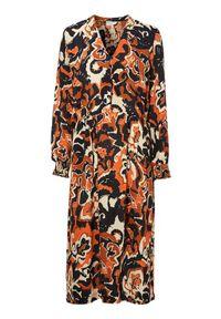 Freequent Wzorzysta sukienka z wiskozy Alberte pomarańczowy we wzory female pomarańczowy/ze wzorem S (38). Kolor: pomarańczowy. Materiał: wiskoza. Styl: elegancki