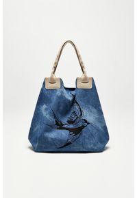 Niebieska torebka MOODO z nadrukiem, z nadrukiem