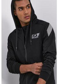 EA7 Emporio Armani - Bluza bawełniana. Okazja: na co dzień. Typ kołnierza: kaptur. Kolor: czarny. Materiał: bawełna. Styl: casual