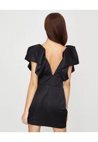 ALEXANDRE VAUTHIER - Czarna sukienka z marszczeniami. Kolor: czarny. Materiał: wiskoza, materiał. Typ sukienki: kopertowe. Styl: klasyczny, wizytowy. Długość: mini