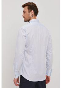 Karl Lagerfeld - Koszula bawełniana. Okazja: na co dzień. Typ kołnierza: kołnierzyk włoski. Kolor: niebieski. Materiał: bawełna. Długość rękawa: długi rękaw. Długość: długie. Styl: casual