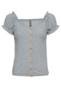 Shirt z guzikami bonprix jasnoszary melanż. Kolor: szary. Wzór: melanż