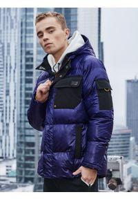 Ombre Clothing - Kurtka męska zimowa C457 - fioletowa - XXL. Kolor: niebieski. Materiał: poliester. Wzór: aplikacja. Sezon: zima