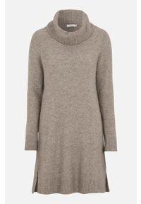Cellbes Sweter z dzierganym ściegiem szarobrązowy melanż female beżowy 34/36. Typ kołnierza: golf. Kolor: beżowy. Materiał: dziergany. Długość rękawa: długi rękaw. Długość: długie. Wzór: melanż