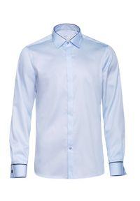 Niebieska elegancka koszula VEVA długa, na spotkanie biznesowe, z długim rękawem, z klasycznym kołnierzykiem