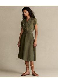 Ralph Lauren - RALPH LAUREN - Lniana koszula Straight fit. Typ kołnierza: polo. Kolor: zielony. Materiał: len. Styl: klasyczny