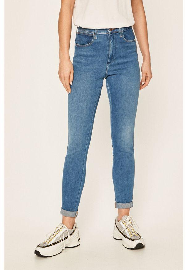 Wrangler - Jeansy. Kolor: niebieski. Materiał: jeans. Wzór: aplikacja