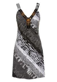 Sukienka letnia bonprix czarno-biały wzorzysty. Kolor: czarny. Wzór: aplikacja. Sezon: lato. Styl: elegancki