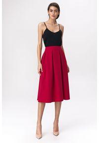 e-margeritka - Spódnica rozkloszowana midi czerwona - 38. Kolor: czerwony. Materiał: wiskoza, materiał, poliester. Długość: krótkie. Styl: elegancki