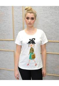 EMMA & GAIA - Biały t-shirt z nadrukiem. Kolor: biały. Materiał: jeans. Wzór: nadruk. Sezon: lato