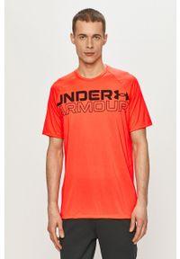 Under Armour - T-shirt. Kolor: pomarańczowy. Materiał: tkanina. Wzór: nadruk