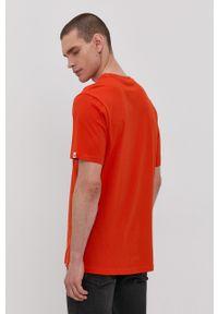 Element - T-shirt. Okazja: na co dzień. Kolor: pomarańczowy. Materiał: dzianina. Wzór: nadruk. Styl: casual
