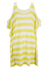 Żółta bluzka bonprix w paski, na plażę