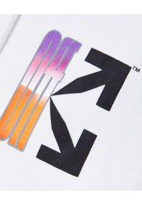 OFF-WHITE - Krótka bluza ze strzałami. Typ kołnierza: kaptur. Kolor: biały. Materiał: dresówka, bawełna, materiał. Długość: krótkie. Wzór: gradientowy. Styl: sportowy