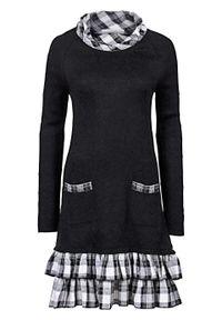 Sukienka dzianinowa w połączeniu różnych materiałów bonprix czarny w kratę. Kolor: czarny. Materiał: bawełna, dzianina, materiał, akryl, poliester. Styl: elegancki