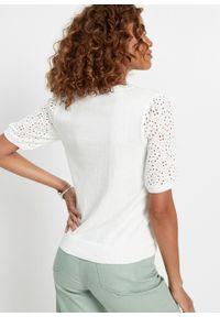Biały sweter bonprix w ażurowe wzory, elegancki