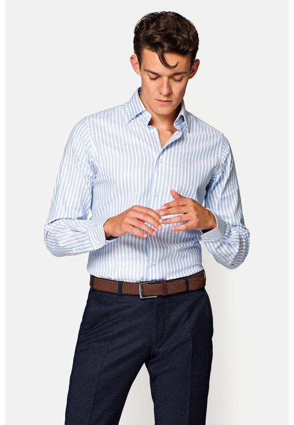 Lancerto - Koszula Błękitna w Prążek Liana. Kolor: niebieski. Materiał: bawełna, len, tkanina, wełna. Wzór: prążki. Sezon: lato