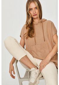 Beżowa bluza Answear Lab na co dzień, z kapturem, wakacyjna