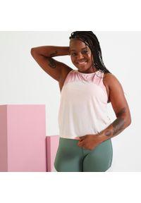 DOMYOS - Top fitness damski Domyos Color Block. Kolor: różowy. Materiał: poliester, elastan, materiał. Sport: fitness