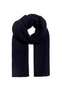 Niebieski szalik William Sharp z aplikacjami, elegancki, na zimę