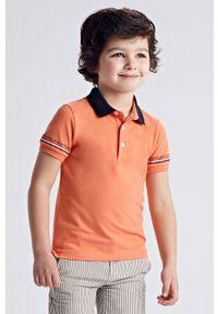 Pomarańczowy t-shirt polo Mayoral krótki, casualowy, na co dzień