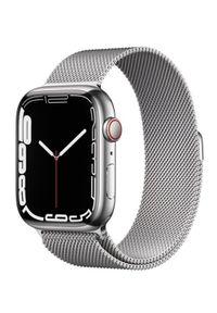 APPLE - Smartwatch Apple Watch 7 GPS+Cellular 45mm stal, srebrny | srebrna bransoleta mediolańska. Rodzaj zegarka: smartwatch. Kolor: srebrny