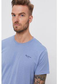 Pepe Jeans - T-shirt bawełniany Derek. Okazja: na co dzień. Kolor: niebieski. Materiał: bawełna. Wzór: gładki. Styl: casual