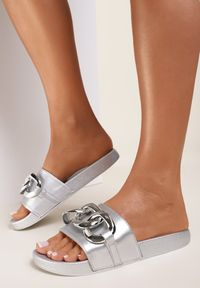 Renee - Srebrne Klapki Thuruin. Nosek buta: otwarty. Kolor: srebrny. Materiał: jeans, guma. Wzór: aplikacja. Sezon: lato