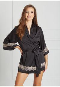 Saintmiss - Peniuar japoński // Grâce - Uniwersalny, Czarny. Kolor: czarny. Materiał: satyna, materiał, koronka. Długość: krótkie. Wzór: koronka