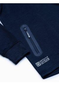 Ombre Clothing - Bluza męska z kapturem B1080 - granatowa - XXL. Typ kołnierza: kaptur. Kolor: niebieski. Materiał: bawełna, poliester