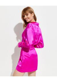 GAUGE81 - Różowa spódnica Nagato. Kolor: wielokolorowy, różowy, fioletowy. Materiał: jedwab. Wzór: aplikacja