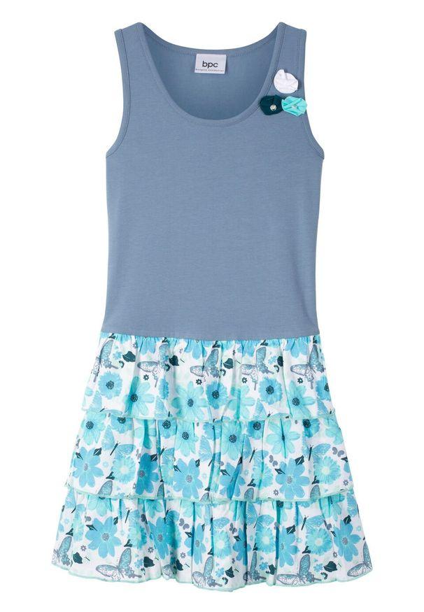 Niebieska sukienka bonprix z nadrukiem, z falbankami, bez rękawów